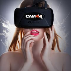 cam 4 vr topless babe with red lipstick bites lip wearing oculus rift headset