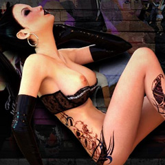 3D animated girl with black hair and tattoos posing in black gloves and a bra with her tits out Red Light Center